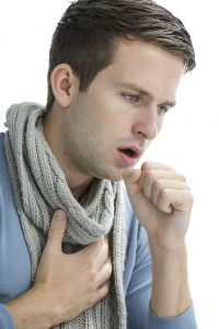 Coughing, asthma - man coughing