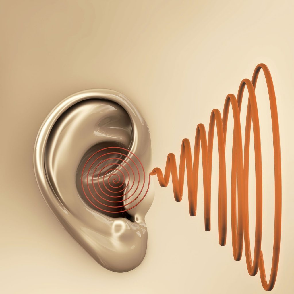 Illustration of ear and sound waves | Sacramento ENT